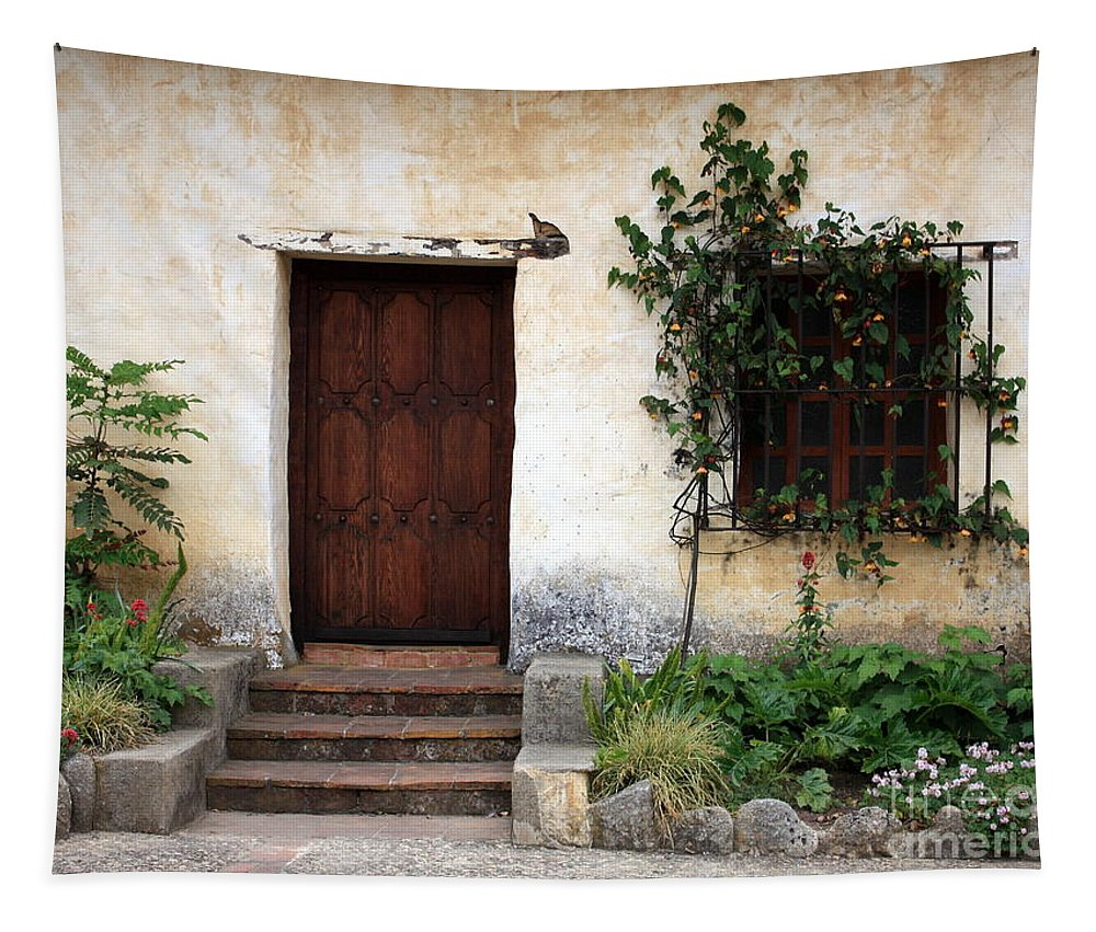 Carmel Mission Tapestry featuring the photograph Carmel Mission Door by Carol Groenen