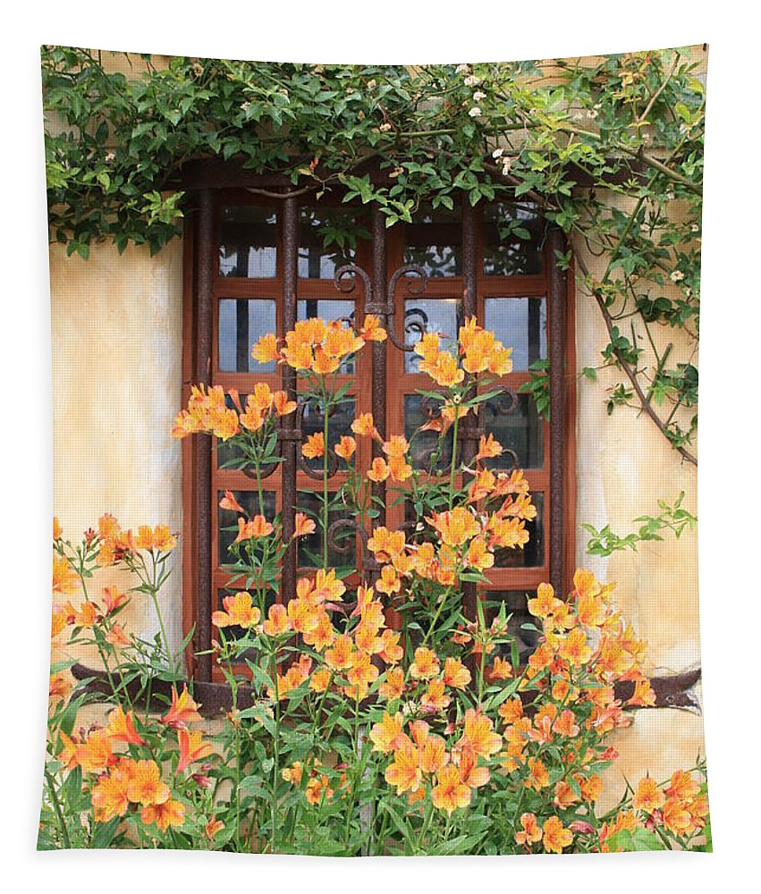Alstroemeria Tapestry featuring the photograph Carmel Mission Window by Carol Groenen