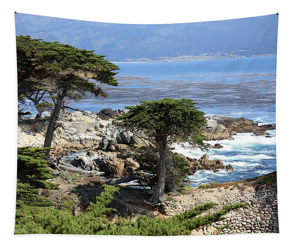 California Tapestry featuring the photograph Carmel Seaside With Cypresses by Carol Groenen
