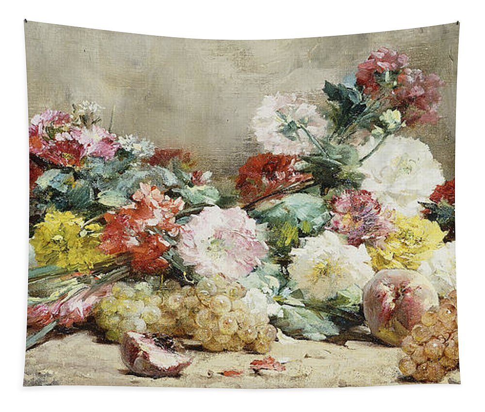 Carnations Tapestry featuring the painting Carnations, Roses, Grapes And Peaches by Georges Jeannin