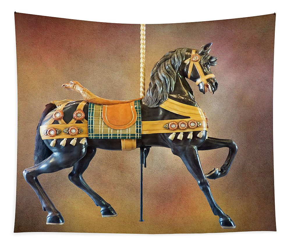 Port Dalhousie Tapestry featuring the photograph Carousel Black Stallion Body by Leslie Montgomery