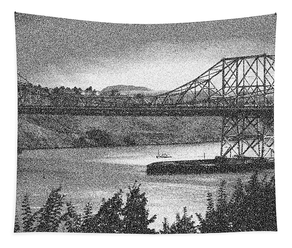 Carquinez-bridge Tapestry featuring the photograph Carquinez Bridge Pointilized B And W by Joyce Dickens