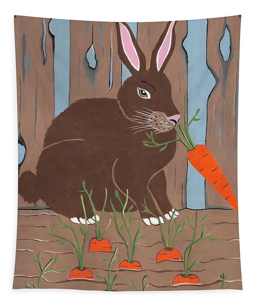 Children Animal Art Tapestry featuring the painting Carrot Top Rabbit by Kathleen Sartoris