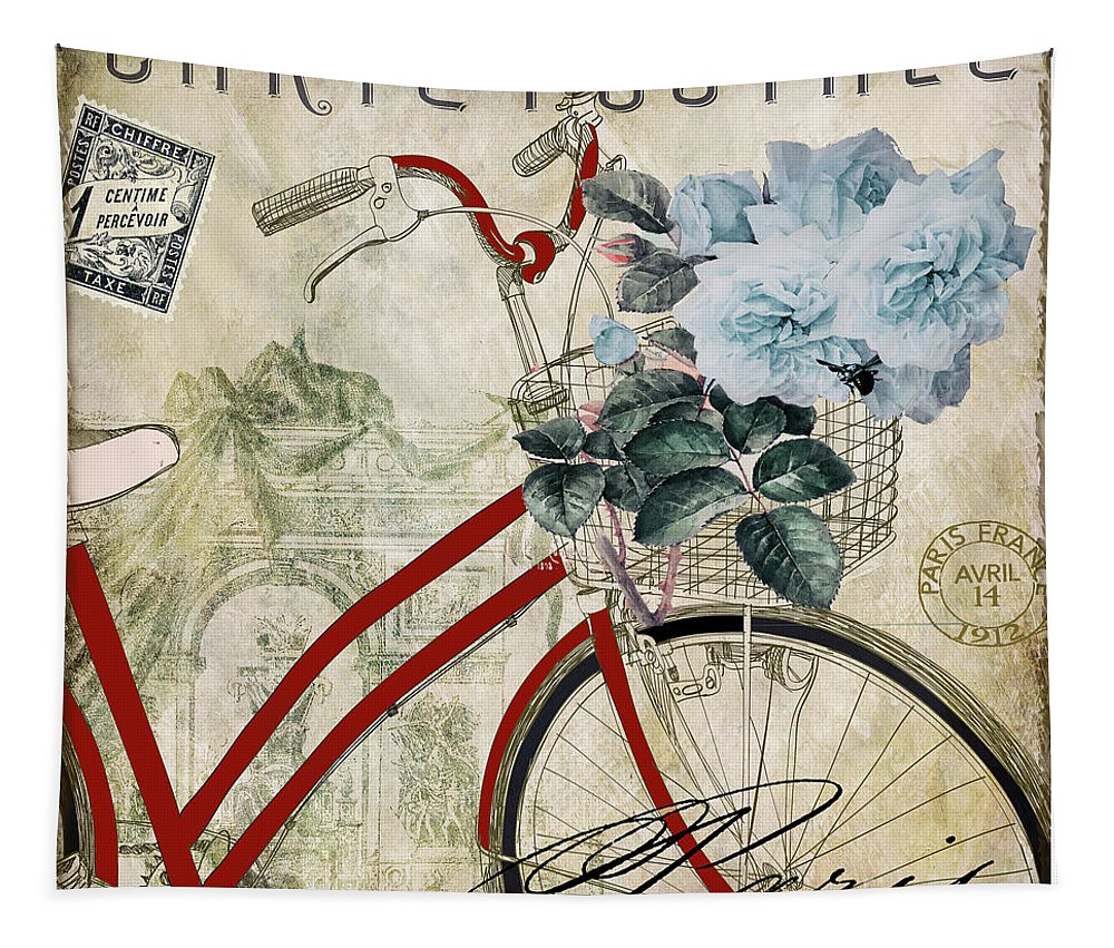 Bicycle Tapestry featuring the painting Carte Postale Vintage Bicycle by Mindy Sommers