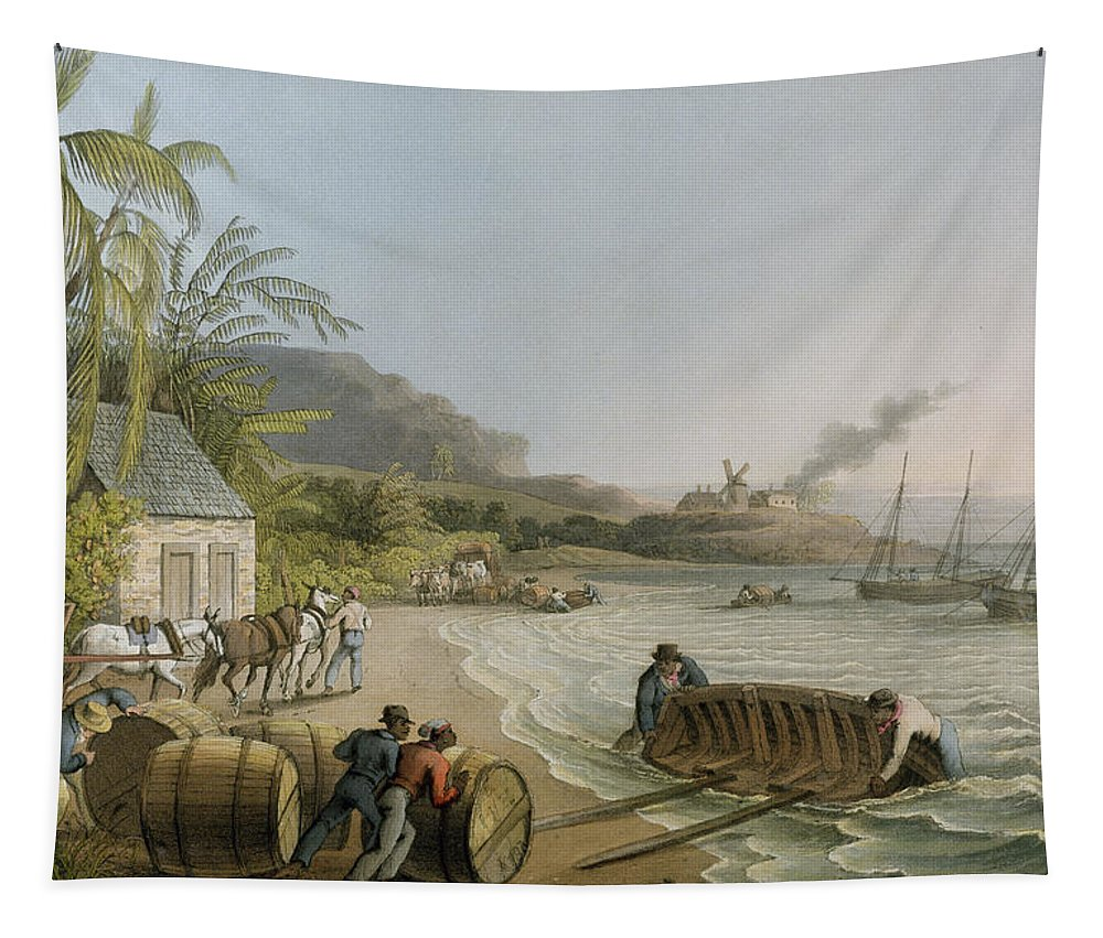 Carting Tapestry featuring the painting Carting And Putting Sugar Hogsheads On Board by William Clark
