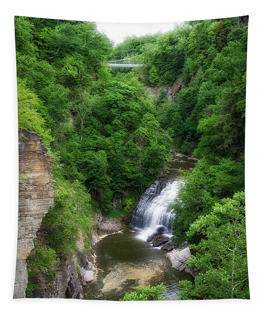 Cornell University Tapestry featuring the photograph Cascadilla Waterfalls Cornell University Ithaca New York 01 by Thomas Woolworth