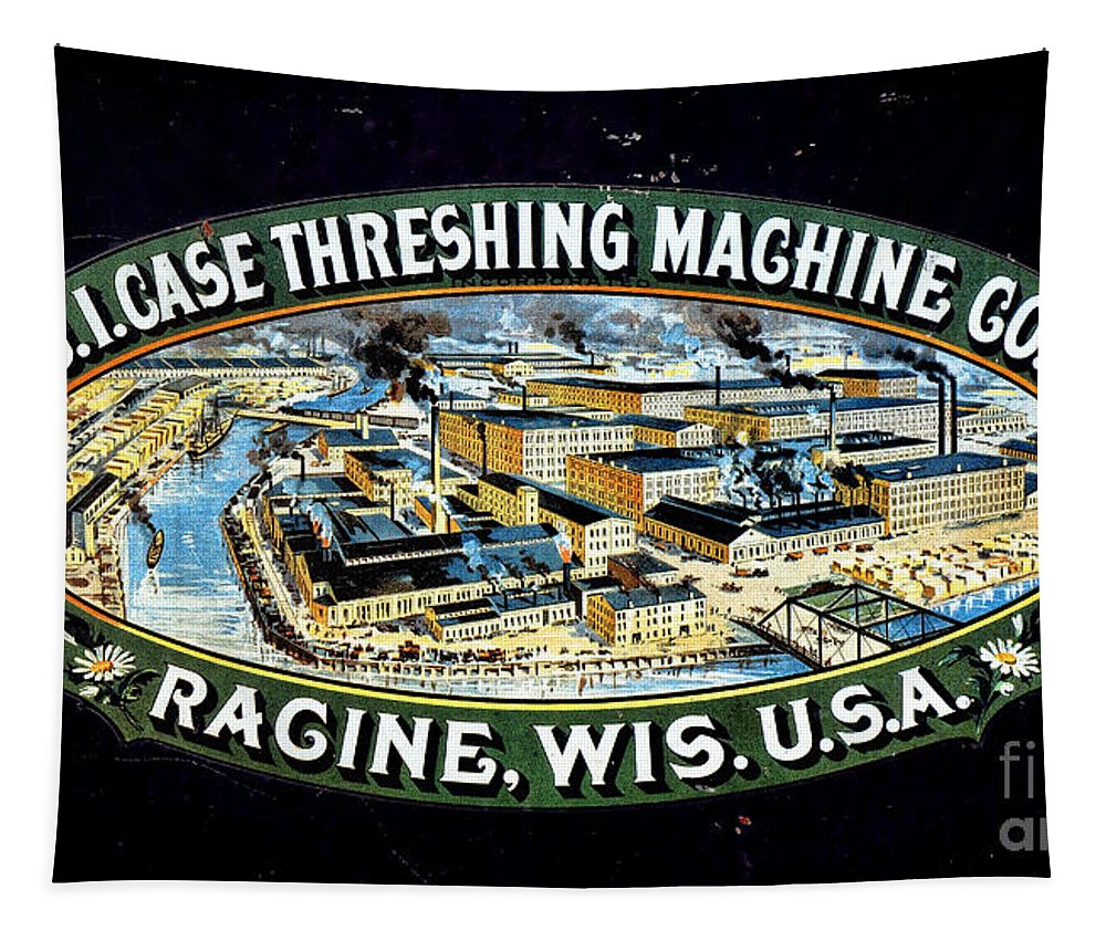 Case Tapestry featuring the photograph Case Threshing Machine Co by Olivier Le Queinec