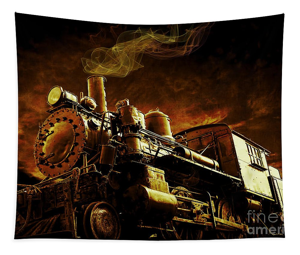 Train Tapestry featuring the photograph Casey Jones And The Cannonball Express by Edward Fielding