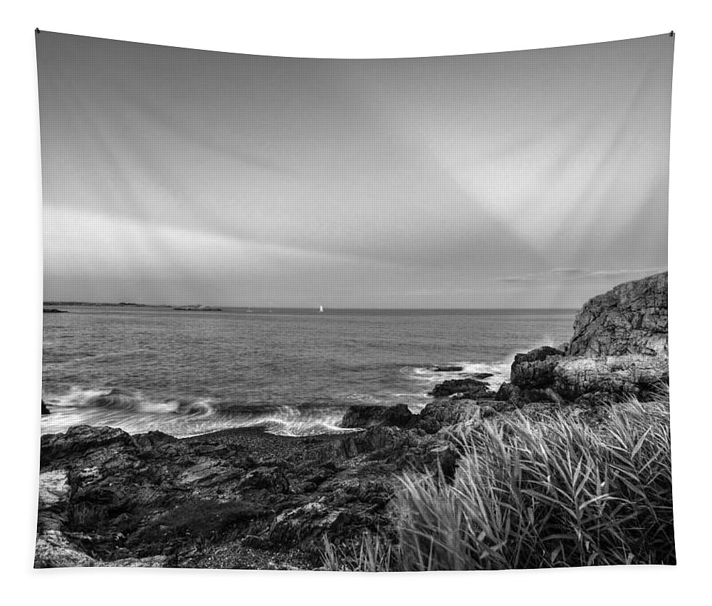 Marblehead Tapestry featuring the photograph Castle Rock Beach Sunset Sunrays Marblehead Ma Black And White by Toby McGuire