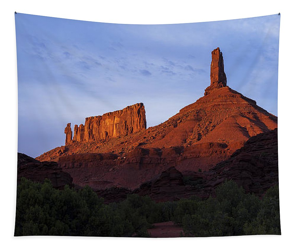 Castle Valley Tapestry featuring the photograph Castle Towers by Chad Dutson