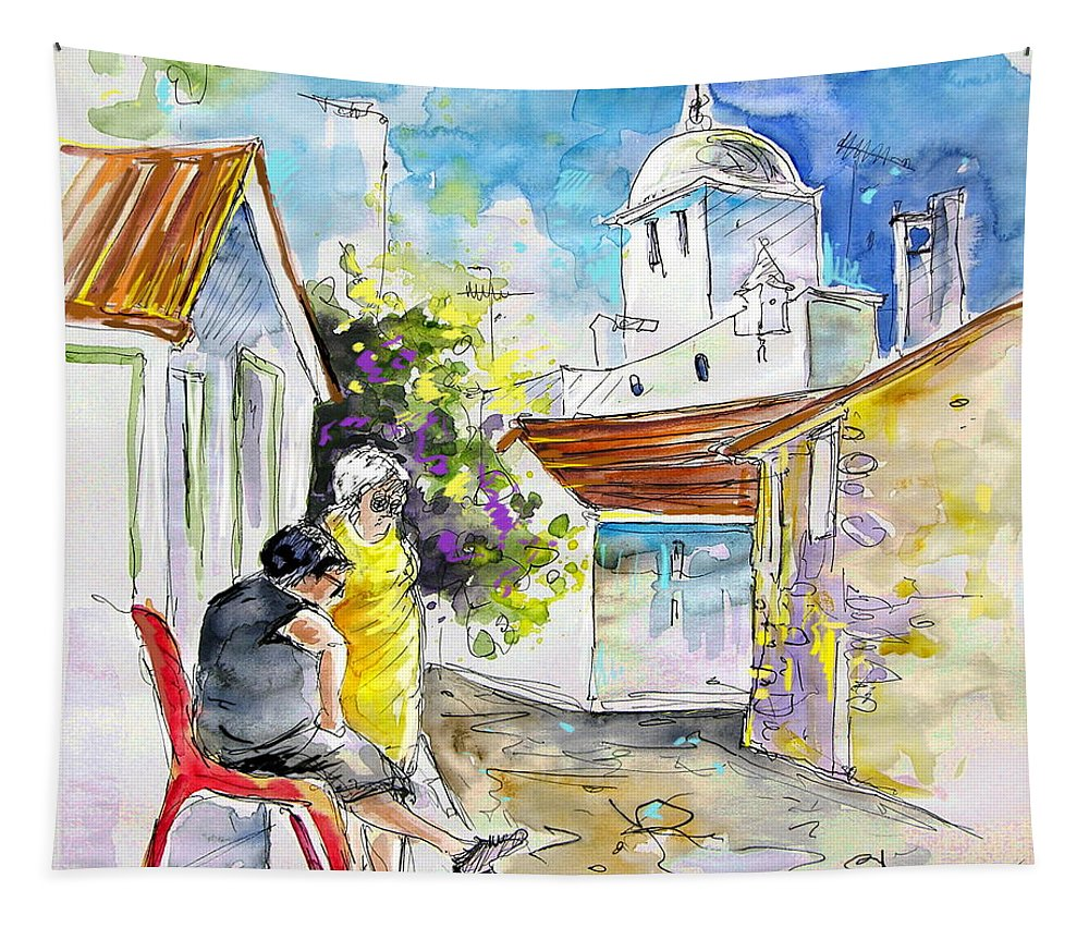 Water Colour Travel Sketch Castro Marim Portugal Algarve Miki Tapestry featuring the painting Castro Marim Portugal 04 by Miki De Goodaboom