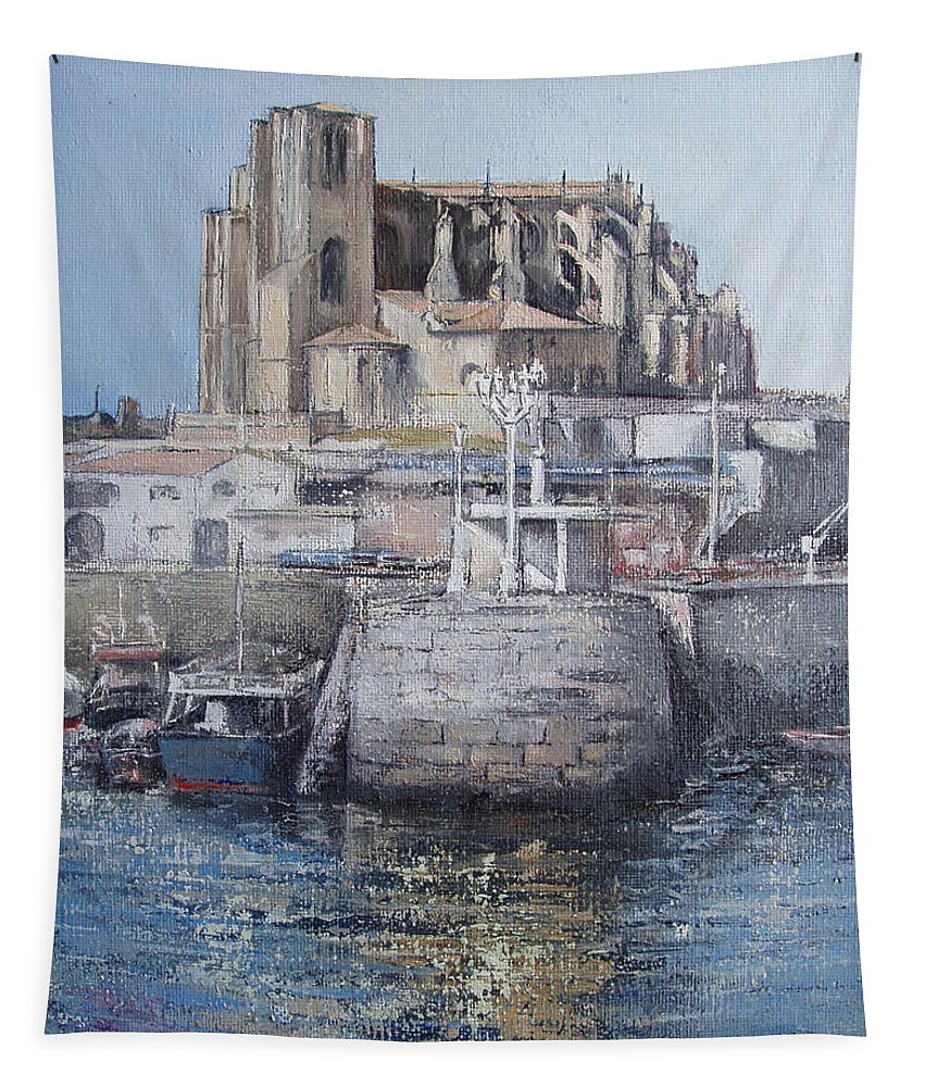 Castro Tapestry featuring the painting Castro Urdiales by Tomas Castano