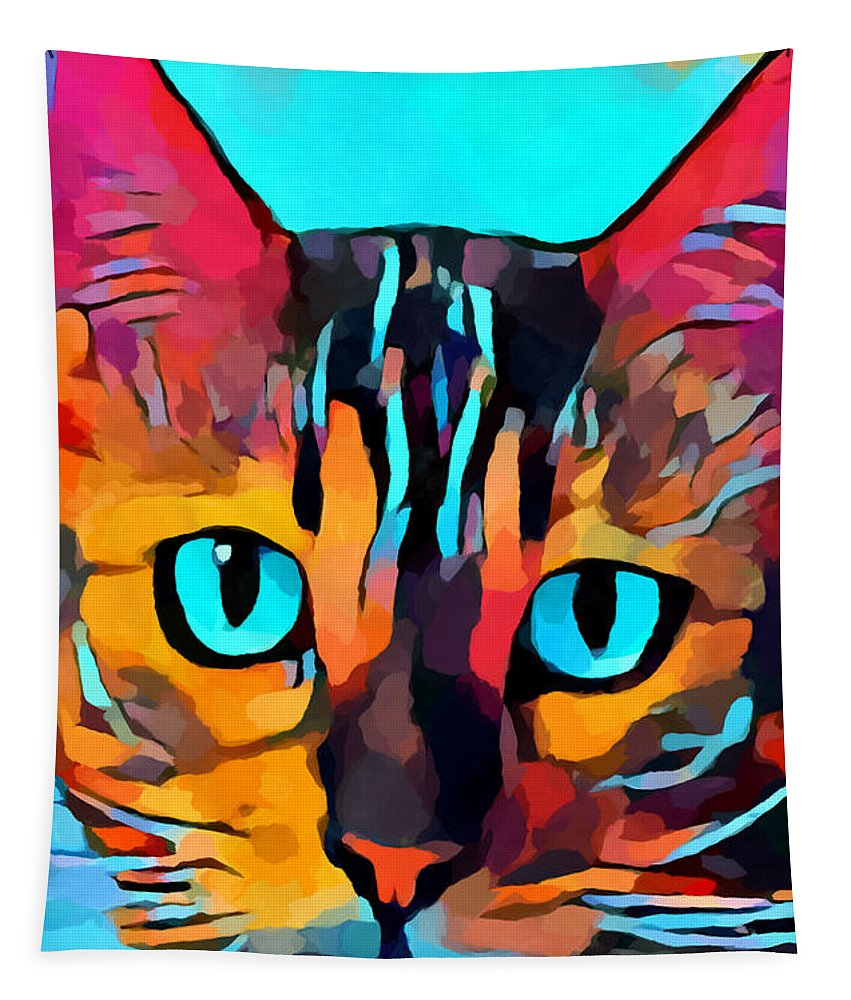 Cat Tapestry featuring the painting Cat 10 by Chris Butler