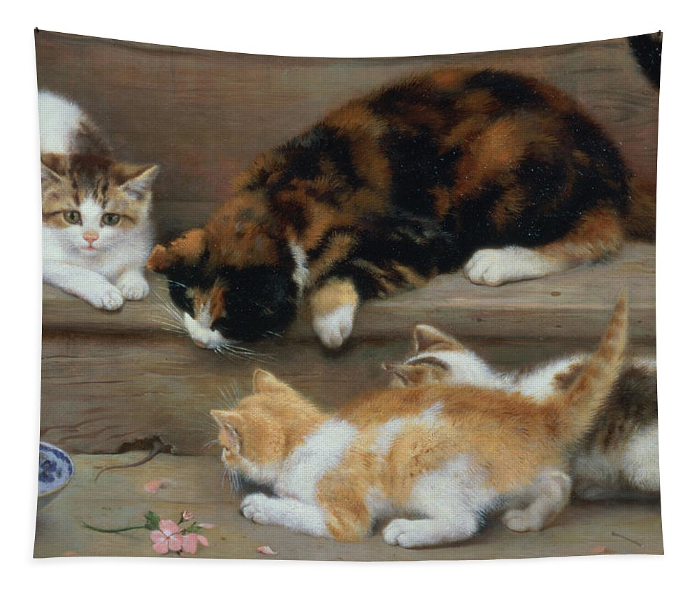 Cat Tapestry featuring the painting Cat And Kittens Chasing A Mouse  by Rosa Jameson
