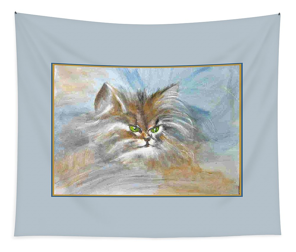 Cat Tapestry featuring the painting cat by Dragica Micki Fortuna