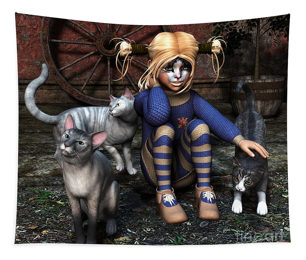 3d Tapestry featuring the digital art Cat Girl by Jutta Maria Pusl