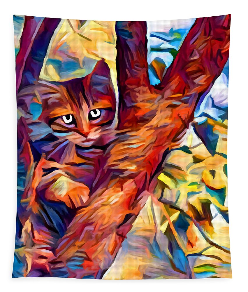 Cat In Tree Tapestry featuring the painting Cat In Tree by Chris Butler