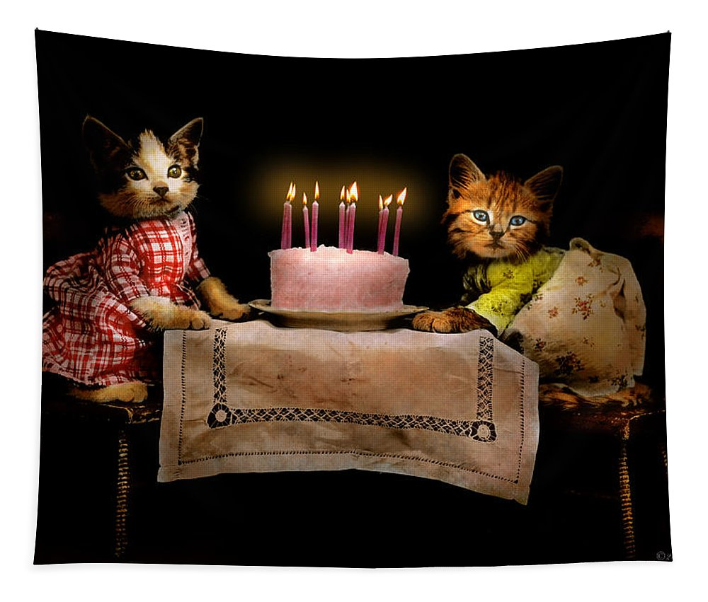 Cat Tapestry featuring the photograph Cat - It's Our Birthday - 1914 by Mike Savad