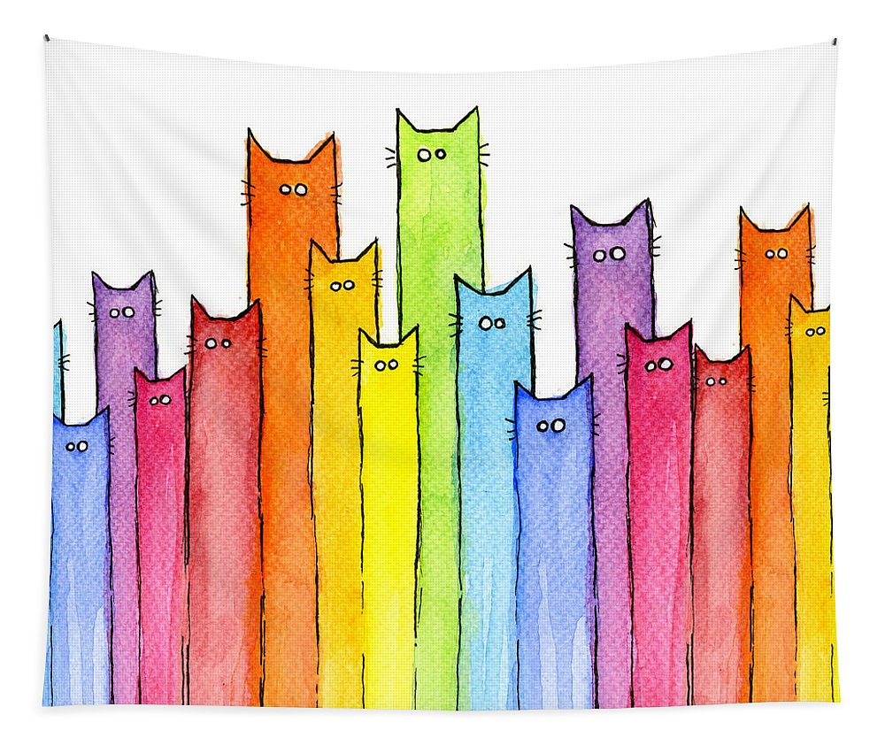 Cats Tapestry featuring the painting Cat Rainbow Watercolor Pattern by Olga Shvartsur