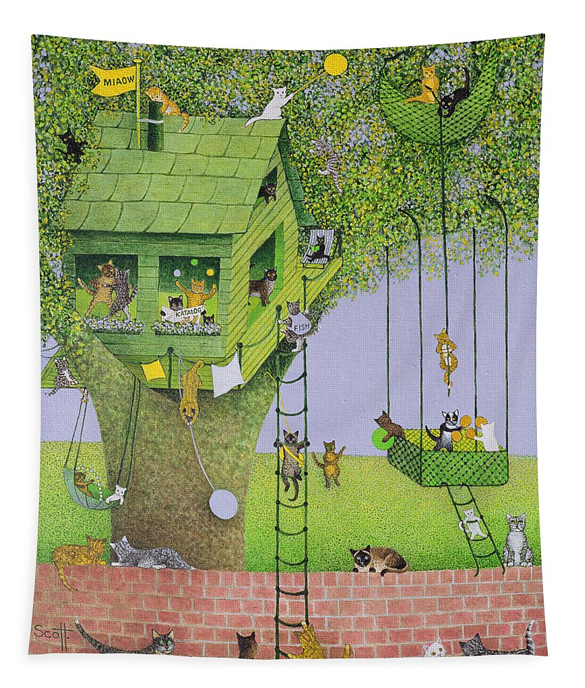 Ladder Tapestry featuring the painting Cat Tree House by Pat Scott