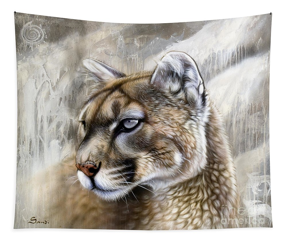 Acrylic Tapestry featuring the painting Catamount by Sandi Baker