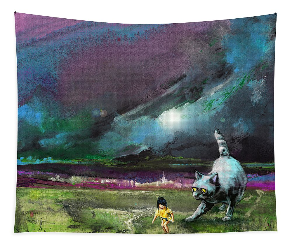 Animals Tapestry featuring the painting Catch Me If You Can by Miki De Goodaboom