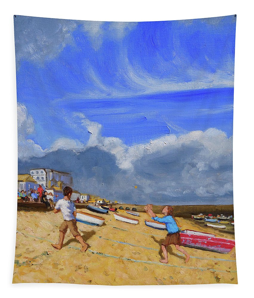 St Tapestry featuring the painting Catching The Ball, St Ives by Andrew Macara