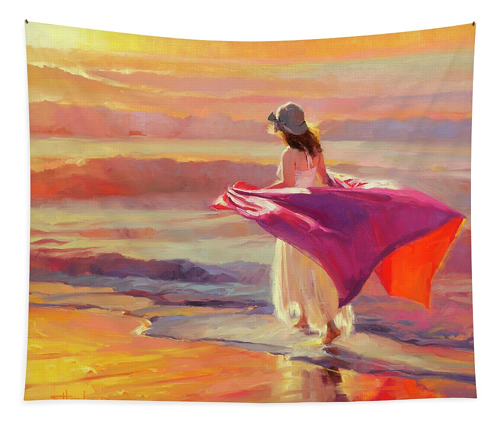 Coast Tapestry featuring the painting Catching the Breeze by Steve Henderson