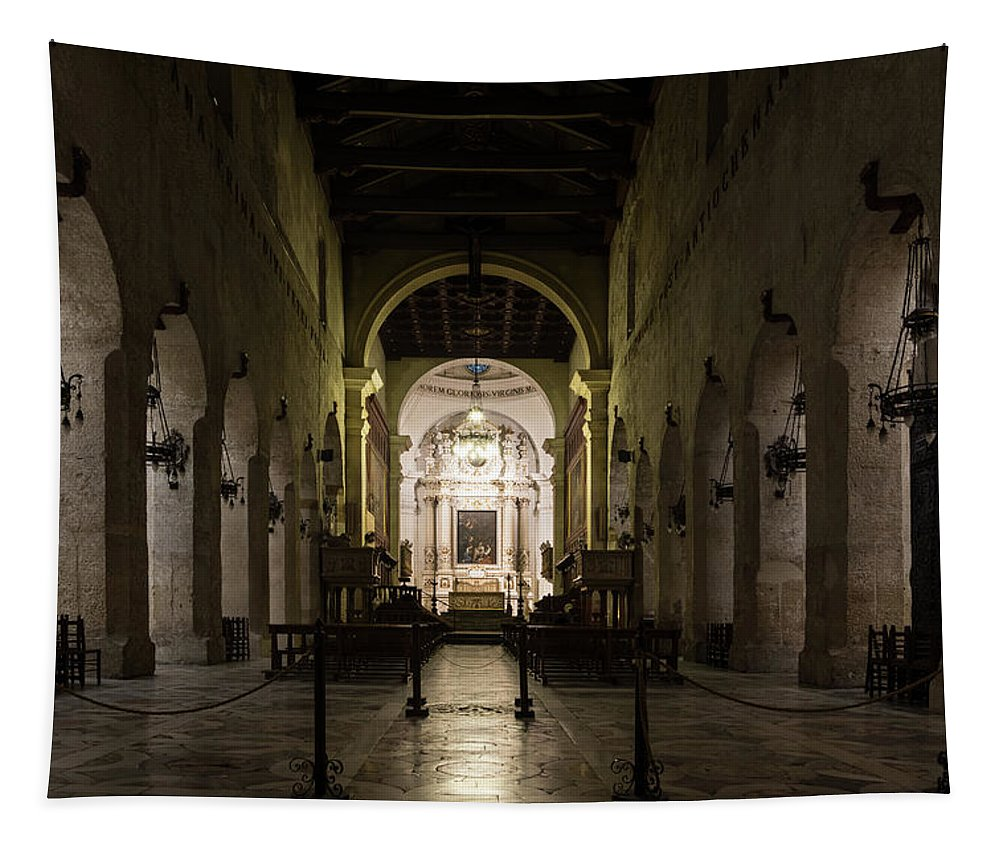 Georgia Mizuleva Tapestry featuring the photograph Cathedral Of Syracuse - Duomo Di Siracusa - An Ancient 2500 Years Old Greek Temple by Georgia Mizuleva