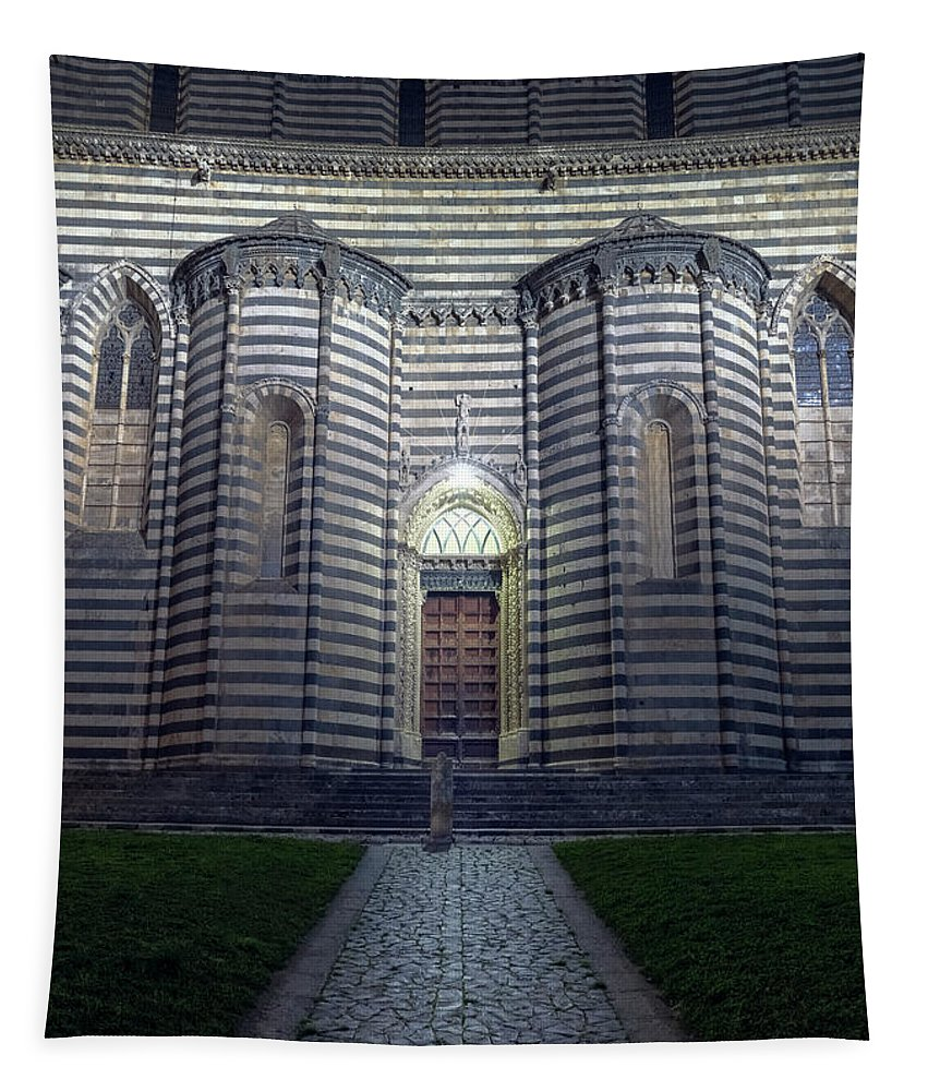 Joan Carroll Tapestry featuring the photograph Cathedral Side Door Orvieto Italy by Joan Carroll