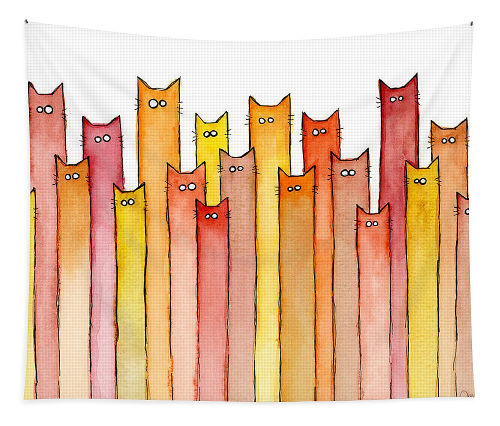 Watercolor Tapestry featuring the painting Cats Autumn Colors by Olga Shvartsur