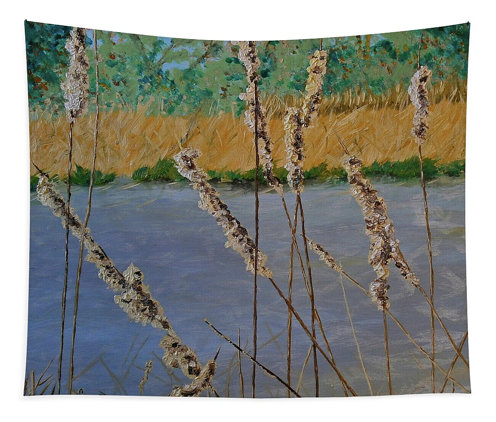 No People Tapestry featuring the mixed media Cattails by Maria Woithofer