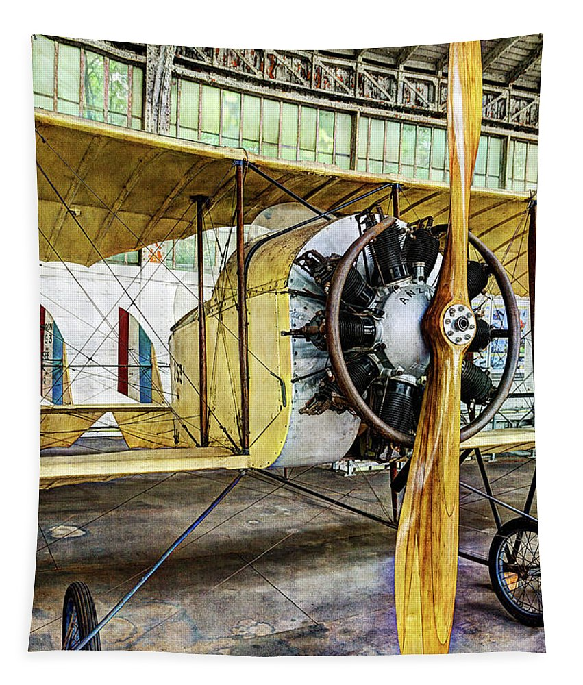 Caudron G3 Tapestry featuring the photograph Caudron G3 Propeller And Cockpit - Vintage by Weston Westmoreland