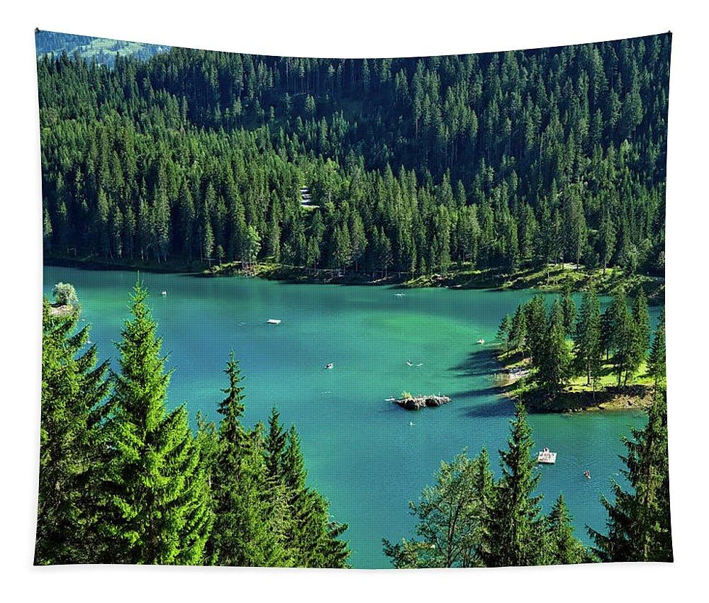 Caumasee Lake Tapestry featuring the photograph Caumasee Lake Switzerland by Pixabay