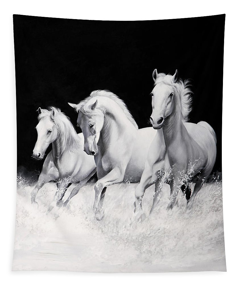 White Horse Tapestry featuring the painting Cavalli Verticali by Danka Weitzen