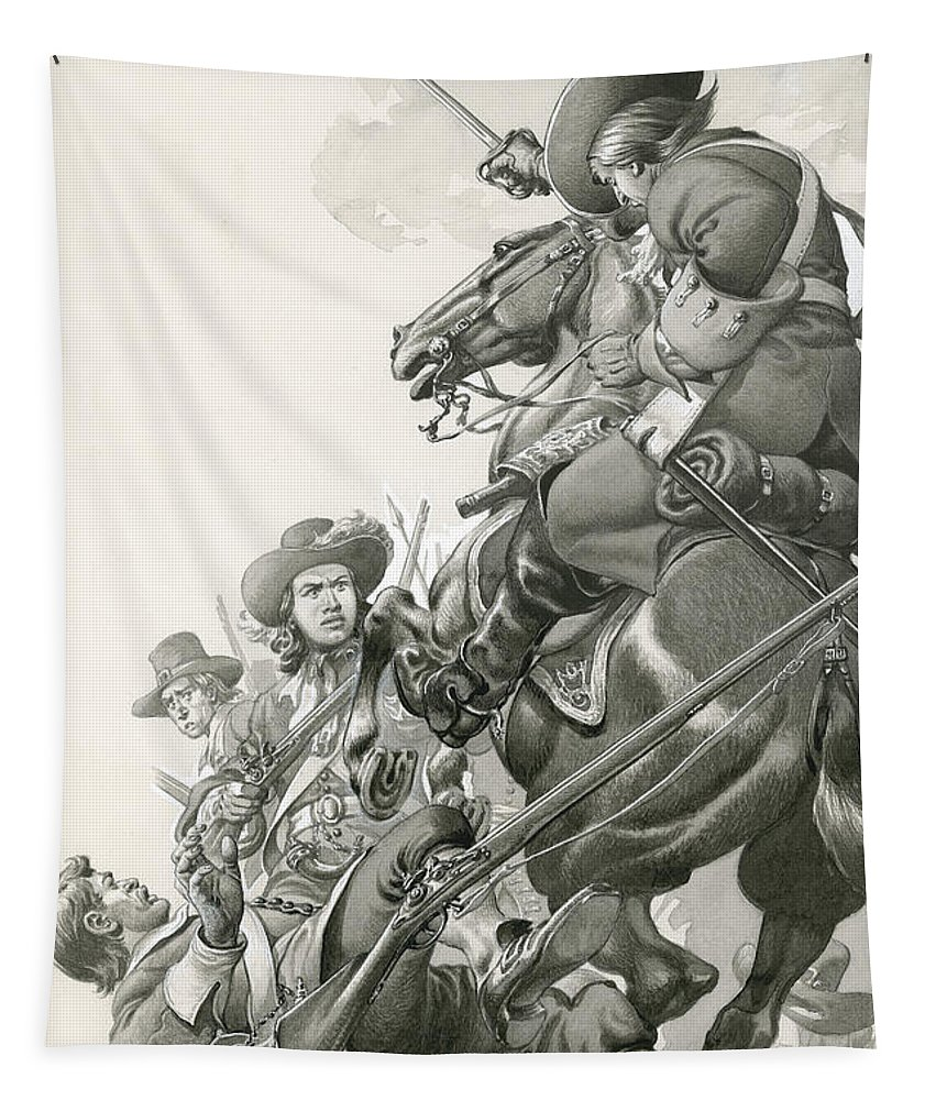 Horse Tapestry featuring the painting Cavalry Charge by Pat Nicolle