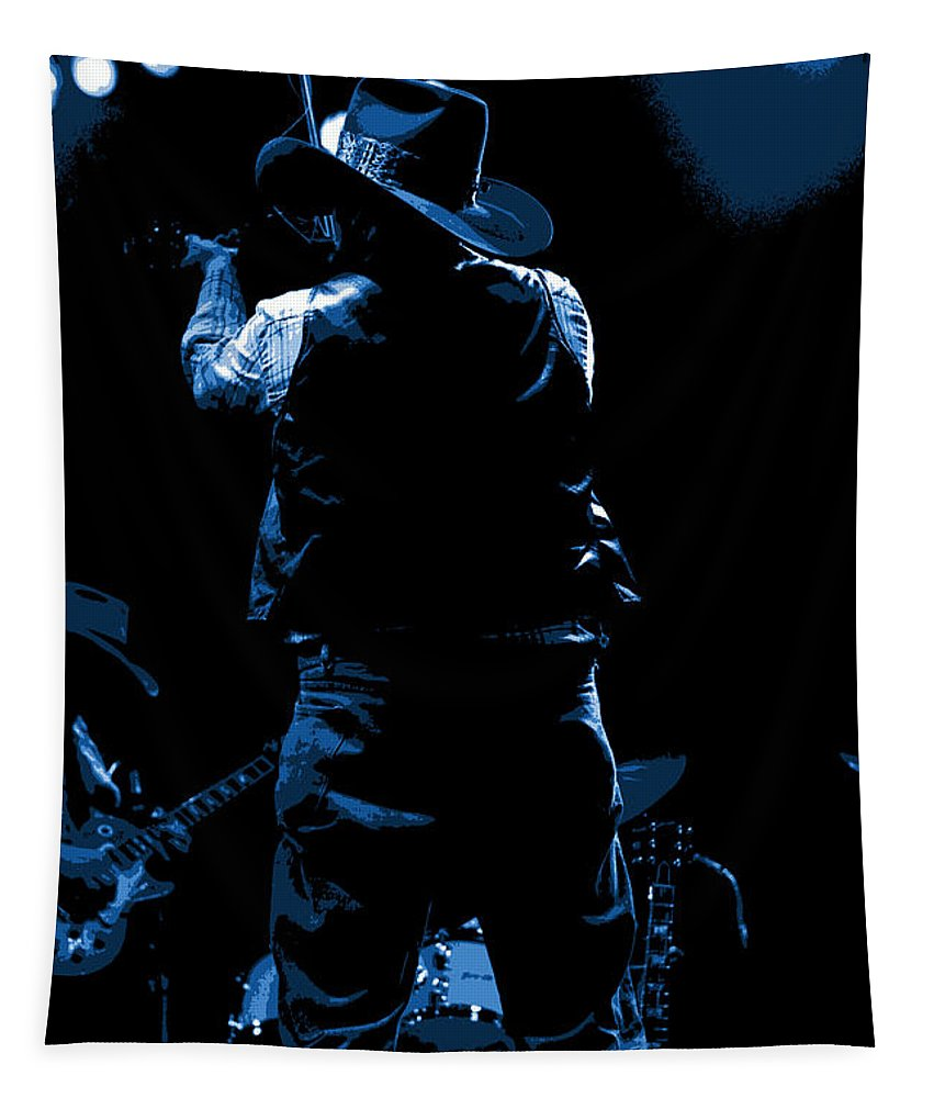 Charlie Daniels Tapestry featuring the photograph Cdb Winterland 12-13-75 #11 Enhanced In Blue by Ben Upham