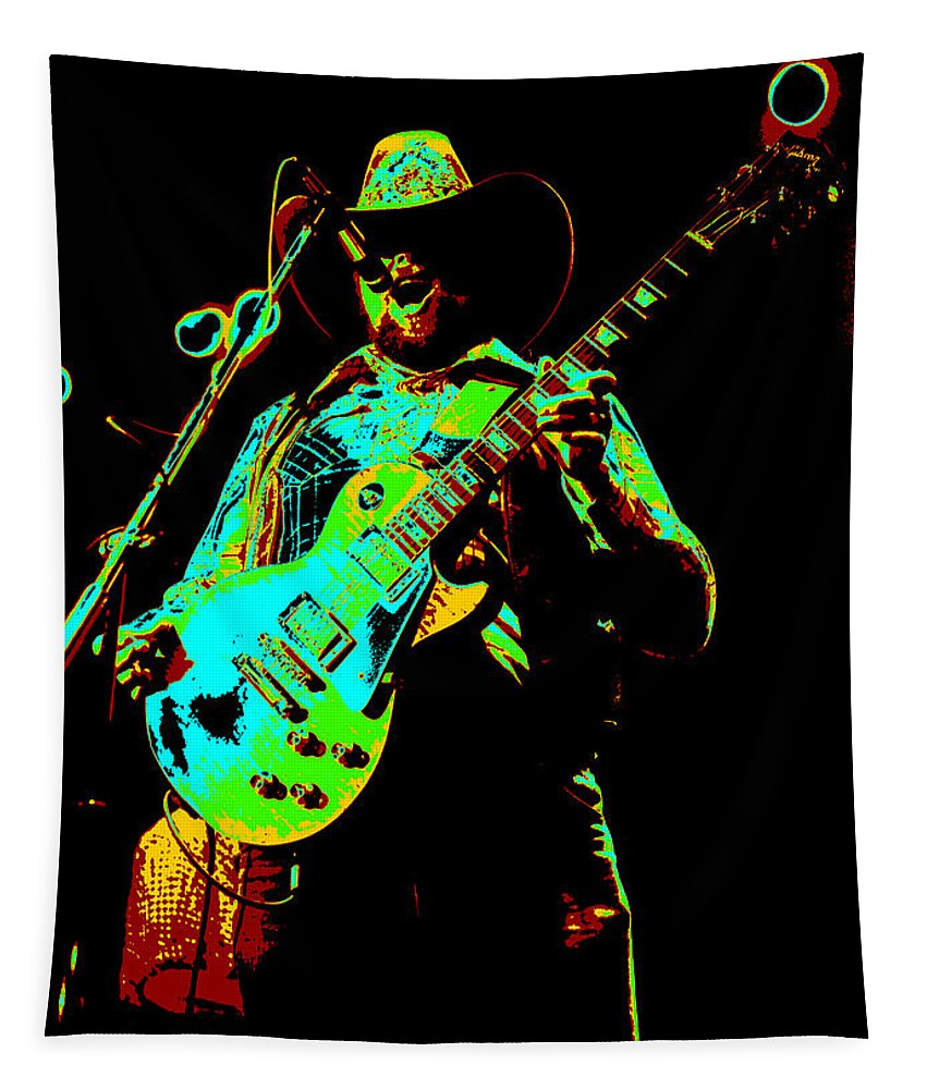 Charlie Daniels Tapestry featuring the photograph Cdb Winterland 12-13-75 #4 Enhanced In Cosmicolors by Ben Upham