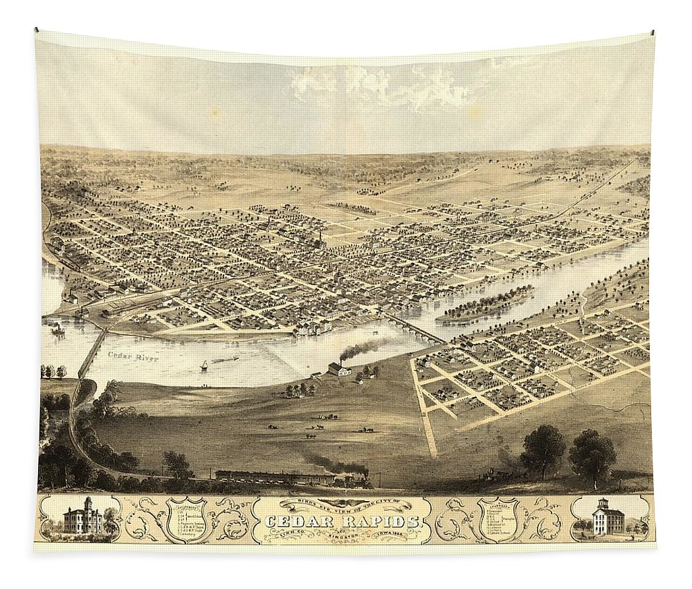 Map Tapestry featuring the mixed media Cedar Rapids Iowa 1868 by Mountain Dreams