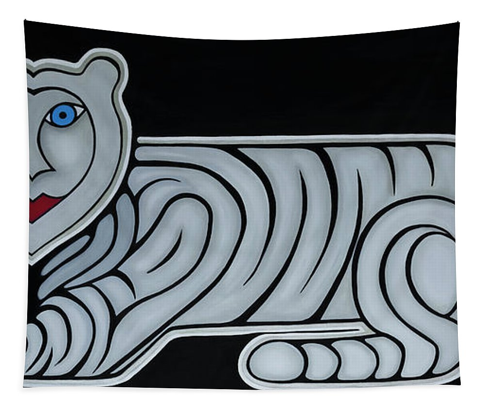 Celestial Tapestry featuring the painting Celestial big white tiger woman by Adamantini Feng shui