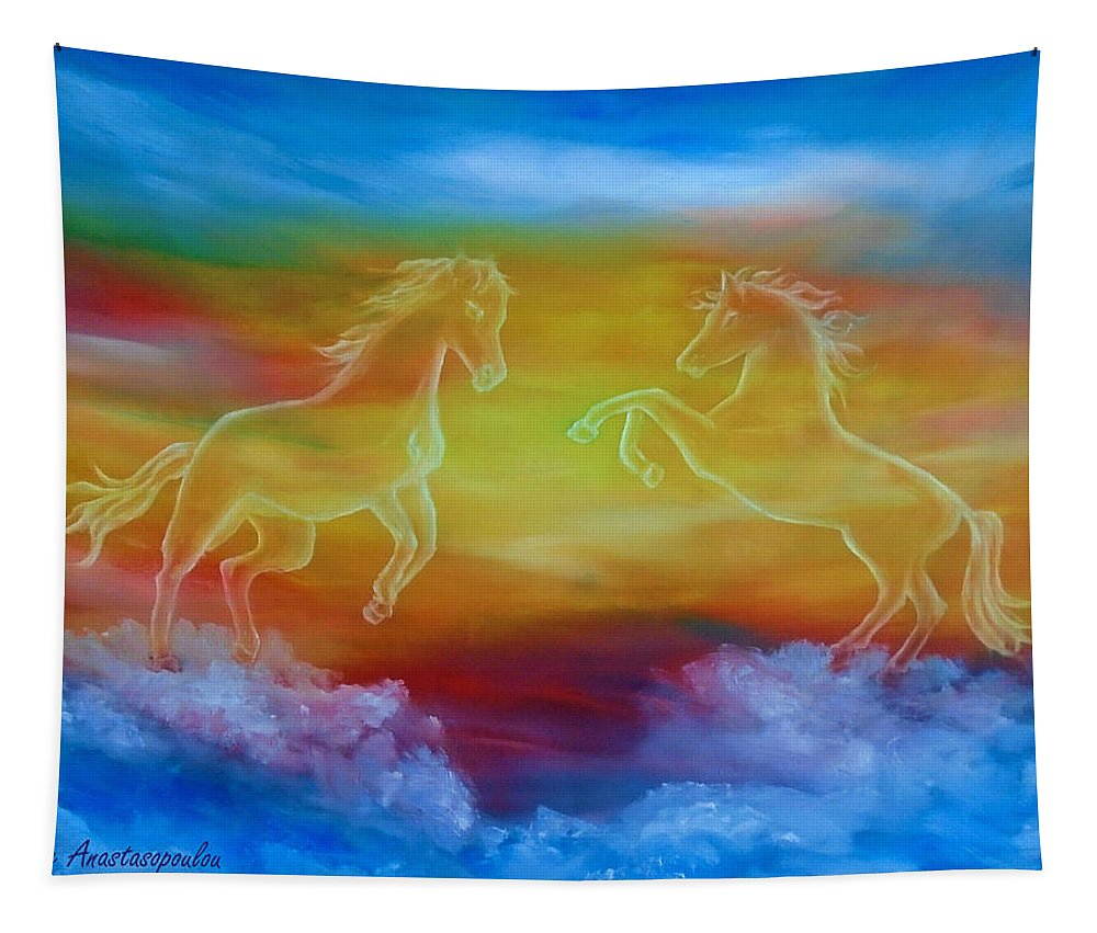 Horse Tapestry featuring the painting Celestial Dream by Faye Anastasopoulou