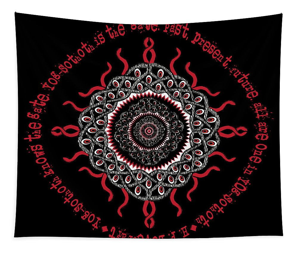 Celtic Knotwork Tapestry featuring the digital art Celtic Lovecraftian Cosmic Monster Deity by Celtic Artist Angela Dawn MacKay