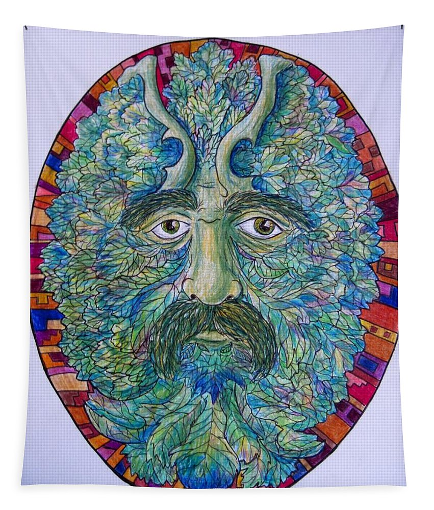 Greenman Tapestry featuring the drawing Celtic Man by Megan Walsh