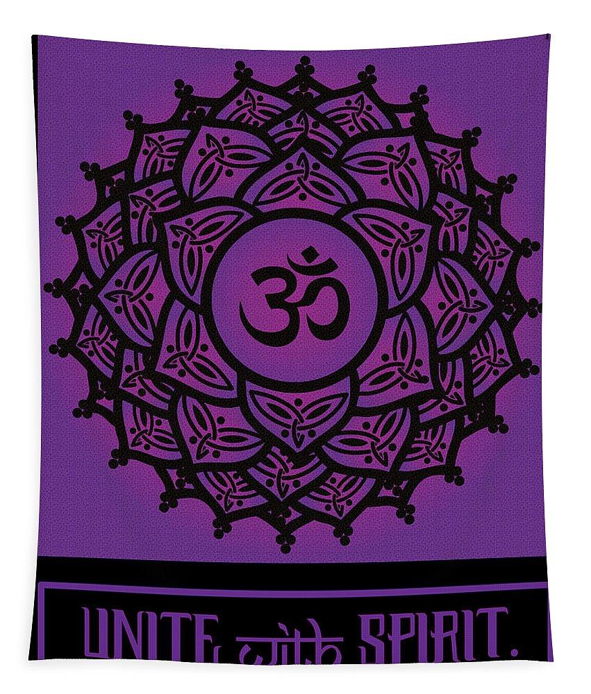 Chakra Tapestry featuring the digital art Celtic Tribal Crown Chakra by Celtic Artist Angela Dawn MacKay