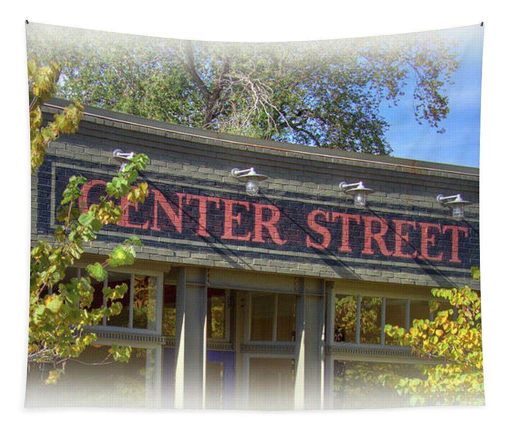 Center Street Sign Tapestry featuring the photograph Center Street Cafe Sign by Nick Gray