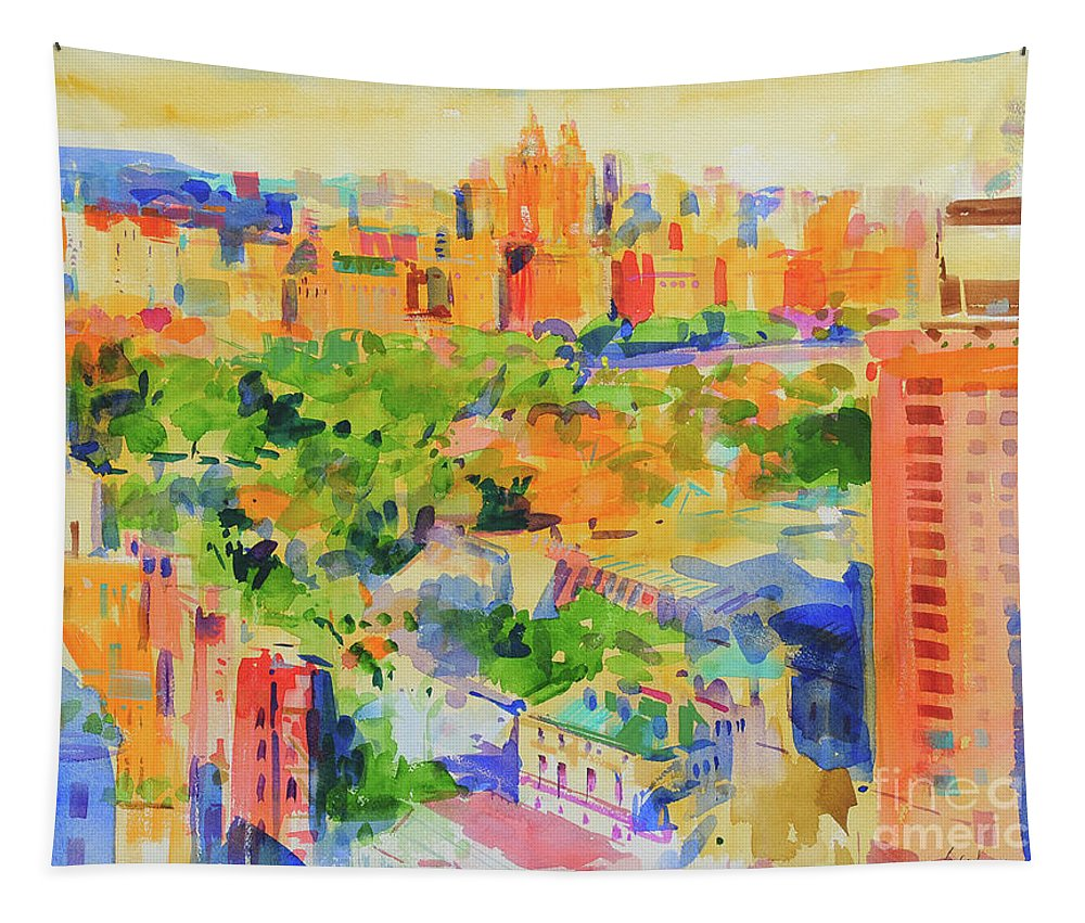 Central Park Tapestry featuring the painting Central Park From The Carlyle by Peter Graham
