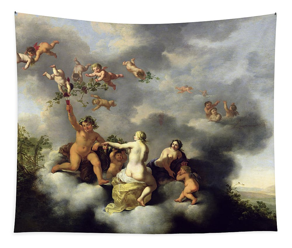 Ceres Tapestry featuring the painting Ceres Bacchus Venus And Cupid by Cornelis van Poelenburgh