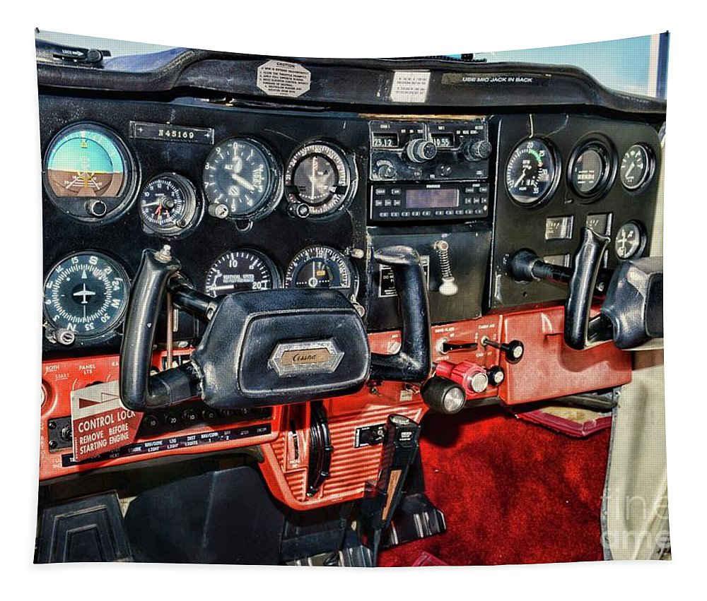 Paul Ward Tapestry featuring the photograph Cessna Cockpit by Paul Ward