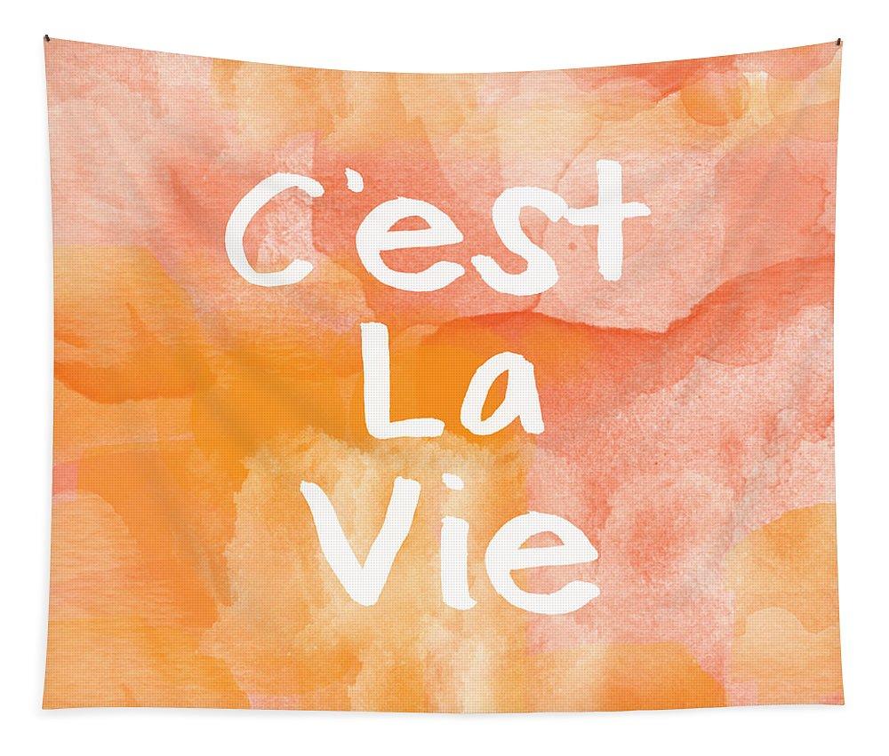C'est La Vie Tapestry featuring the painting C'est La Vie by Linda Woods