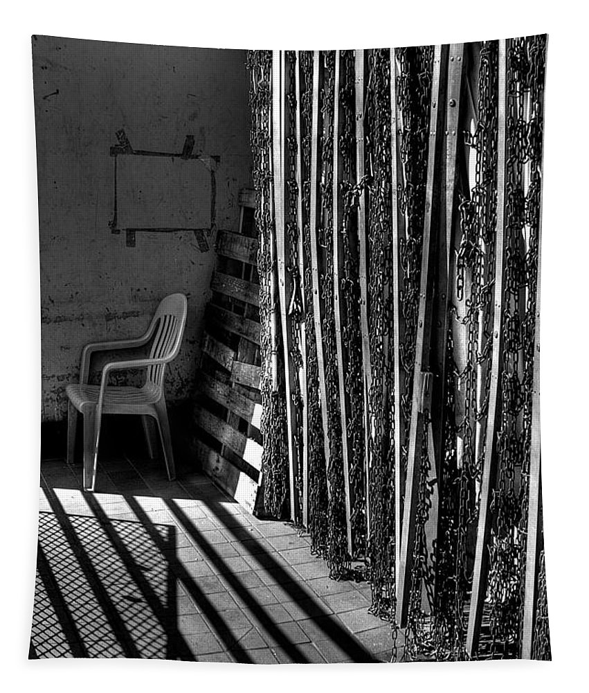 Black And White Tapestry featuring the photograph Chain Barrier by David Patterson